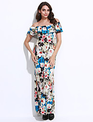 Women's Casual/Daily Vintage Sheath DressFloral Boat Neck Maxi Layered Backless Short Sleeve Mid Rise