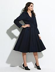 De las mujeres Corte Swing Vestido Casual/Diario / Formal / Trabajo Vintage / Chic de Calle / Sofisticado,Un Color Escote en V Profunda
