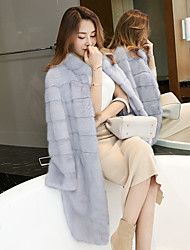 novo inverno importados vison gola de pele de vison casaco casaco de vison toda meninas longo parágrafo