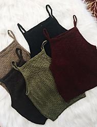 Feminino Malha Íntima Formal Simples Moda de Rua Primavera Outono,Sólido Vermelho Preto Verde Elastano Com Alças Sem Manga Média