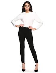 Feminino Tamanhos Grandes Skinny Chinos Calças-Cor Única Casual Simples Cintura Média Elasticidade Algodão Inelástico Outono