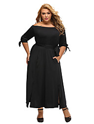Women's Off The Shoulder Black Chambray Off the Shoulder Belted Curvy Dress