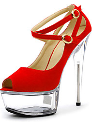 Women's Heels Spring Summer Fall Platform Fleece Wedding Dress Party & Evening Stiletto Heel Platform Crystal Heel Black Blue Red Clear