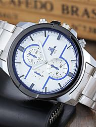 Hombre Reloj Deportivo Reloj de Vestir Reloj de Moda Reloj de Pulsera Cuarzo Acero Inoxidable Banda Casual Blanco Blanco Negro