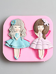G002 Beautiful Girls Fondant Cake Molds Chocolate Mould For The Kitchen Baking Silicone Sugar Decoration