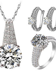 Women's Jewelry Set Rhinestone Imitation Diamond Love Luxury Costume Jewelry Zircon Cubic Zirconia Rhinestone Alloy 1 Necklace 1 Pair of