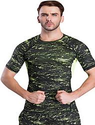 Homens Camiseta de Corrida Manga Curta Secagem Rápida Respirável Redutor de Suor camadas de base Blusas para Exercício e Atividade Física