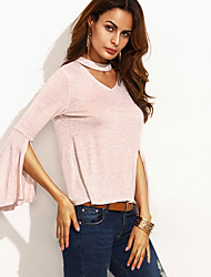 Women's Going out / Casual/Daily Simple / Cute Spring / Fall T-shirt,Solid Halter Long Sleeve Pink Cotton Medium