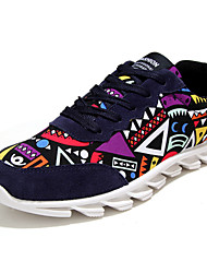 Men's Sneakers Spring Fall Winter Comfort Fabric Outdoor Casual Athletic Flat Heel Lace-up Black Blue Red Running