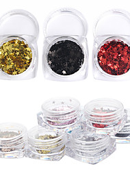 12Pcs/box Fashion Colorful Star Nail Art Decoration Rhinestone Pearls Makeup Cosmetic Nail Art Design