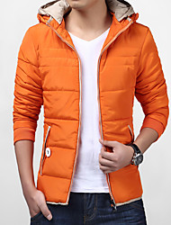 Men's Regular Padded Coat,Simple Cute Street chic Plus Size Going out Casual/Daily Solid-Cotton Polyester Cotton Long SleeveBlue Red
