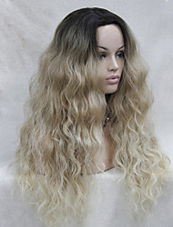 High Quality Heat Resistant  Synthetic Ombre Blonde With Dark Root  Wavy Lace Front Long Wig