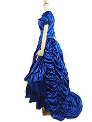 Outfits Gothic Lolita Victorian Cosplay Lolita Dress Blue Solid Short Sleeve Asymmetrical Top / Skirt / Petticoat For Women Linen