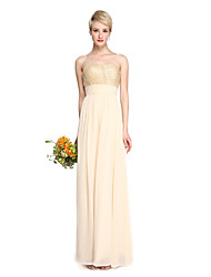 2017 Lanting Bride® Floor-length Chiffon Sequined Elegant Bridesmaid Dress - A-line Sweetheart with Draping Criss Cross Ruching Sequins