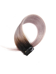2 Pcs/Set 4 Clips Clip In Hair Extensions Ombre Black to Grey 14Inch 18Inch 100% Human Hair For Women