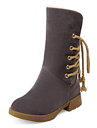 Women's Boots Winter Others Leatherette Dress / Casual Low Heel Lace-up Black / Brown / Gray / Beige Others