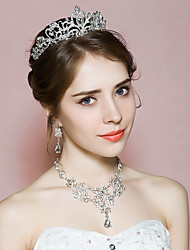 Jewelry 1 Necklace 1 Pair of Earrings 1 Hair Jewelry Rhinestone Wedding Party 1set Women As Per Picture Wedding Gifts