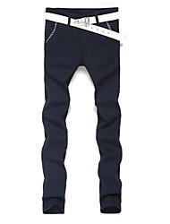 Masculino Solto Chinos Calças-Cor Única Casual Simples Jacquard Cintura Média Zíper Algodão Micro-Elástico Outono Inverno