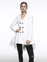 New Women Slim Fit double-breasted wool Trench Coat Casual Outwear