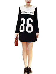 Maternity Round Neck Casual/Daily Simple Long Sleeve Loose Letter Print Contrast Color Stitching T-shirt