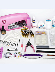 Professional DIY Nail Art Set Manicure Tools Set 9W LED UV Lamp Nail Set with Flase Nail Tips & UV Extension Gels for Practice