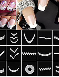 18 Nail Art Sticker French Tips guide Makeup Cosmetic Nail Art Design