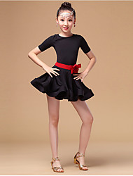Latin Dance Dresses Children's Performance Spandex Milk Fiber Ruffles 3 Pieces Long Sleeve High Dress Waist Belt Shorts