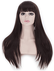 25 Inches Cosplay Wigs Women's Natural Long Straight Dark Brown Hair Wig Oblique Bangs Style