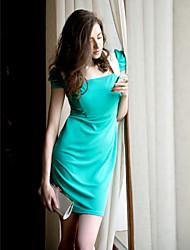 TS contraste de cor plissados mangas Vestido