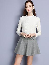 Damen Röcke,A-Linie einfarbigLässig/Alltäglich Einfach Mittlere Hüfthöhe Über dem Knie Elastizität Leinen Polyester Unelastisch Herbst