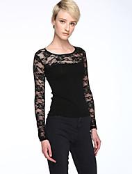 Women's Patchwork Black Blouse,Plus Size/ Casual Embroidery Mesh Fashion Elegant Slim Nylon