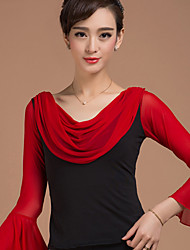 Latin Dance Tops Women's Training Rayon Dot Draped 1 Piece Long Sleeve Natural Top