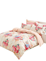 Mingjie 100% Cotton Pink Flowers Bedding Sets 4PCS for Twin Full QueenSize from China Contian 1 Duvet Cover 1 Flatsheet 2 Pillowcases