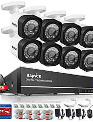 SANNCE® 8CH 720P AHD DVR Kits 8PCS 720P IR Night Vision Outdoor CCTV Camera Home Security System Built-in 1TB HDD