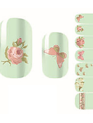 Fashion Flowers Butterfly Nail Art Glitter Sticker