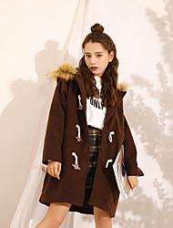 Sign spot Dongkuan good quality thick quilted hooded fur collar woolen coat