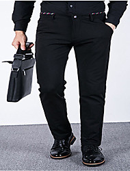 Men's Loose Business Pants,Casual/Daily Simple Solid Mid Rise Zipper Cotton Micro-elastic All Seasons