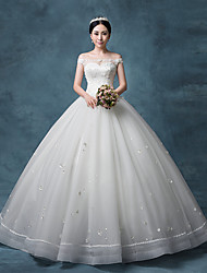 Princess Wedding Dress Floor-length Bateau Lace / Organza / Tulle / Sequined with Beading / Crystal / Lace / Sequin