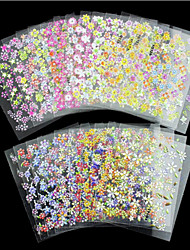 24 Designs/Lot Beauty Flowers Nail Stickers 3D Nail Art Decotations Glitter Manicure Diy Tools For Charms Nails