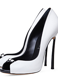 Women's Heels Spring Summer Fall Other Leatherette Office & Career Dress Casual Party & Evening Stiletto Heel Buckle Black White Other