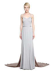 LAN TING BRIDE Court Train Spaghetti Straps Bridesmaid Dress - Beautiful Back Color Block Sleeveless Jersey