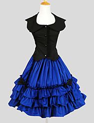 Austattungen Niedlich Prinzessin Cosplay Lolita Kleider einfarbig Ärmellos Knielänge Top Rock Für Baumwolle