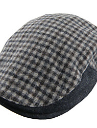 New Casual Men Women Winter Plaid Wool Blend Flat Cap Cabbie Hats Newsboy