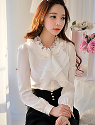 Women's Bow Going out Formal Party/Cocktail Vintage Street chic Sophisticated Spring Fall BlouseSolid Stand Long Sleeve White
