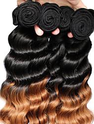 "3pcs / lot 12 ""-26"" cor de cabelo virgem brasileira 1b30 o cabelo humano de onda solta tece"