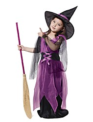 Children Witch Halloween Costumes For Kids Pretty Purple Fly Witch Costume  Band Carnival Party Stage Show Wizard Cosplay