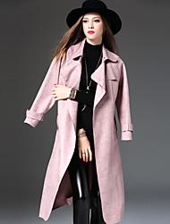 Trench Femme,Couleur Pleine Décontracté / Quotidien simple Manches Longues Rose Polyester / Spandex Epais Hiver