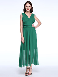 Women's Simple Solid Ruched Backless Sexy Tunic Chiffon / Swing Dress,V Neck Maxi