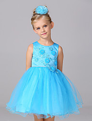 Ball Gown Short / Mini Flower Girl Dress - Cotton Organza Satin Tulle Sleeveless Jewel with Appliques Bow(s) Crystal Detailing Flower(s)