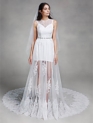 LAN TING BRIDE A-line Wedding Dress See-Through Chapel Train Jewel Lace Tulle with Appliques Beading Lace